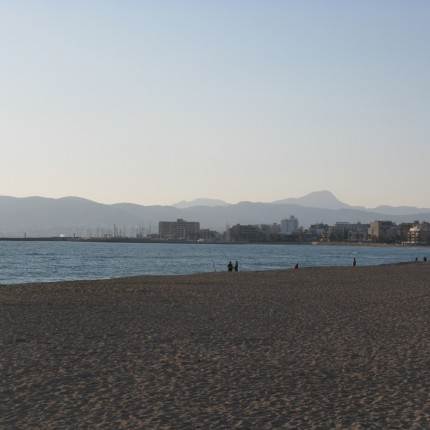 A view of the surrounding beach